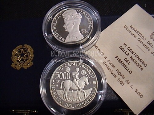 1995 Italia 5000 Lire PROOF Pisanello in argento con cofanetto