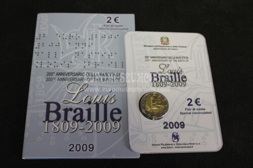 Italia 2009 Braille 2 euro commemorativo in folder