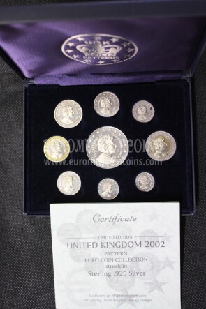 2002 United Kigndom serie prova euro coins in argento