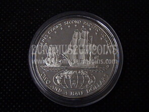 1974 Isole Cook 2,5 Dollari in argento Proof James Cook's