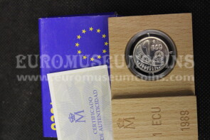 1989 Spagna 1 ECU Proof Europa in argento