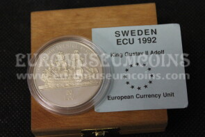 1992 Svezia 20 ECU Proof Re Gustavo in argento