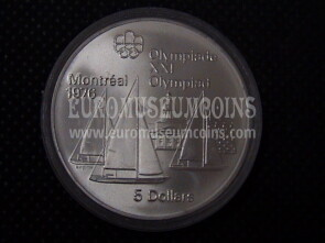 1973 Canada 5 Dollari Olimpiadi di Montreal 1976 in argento Barche Kingston