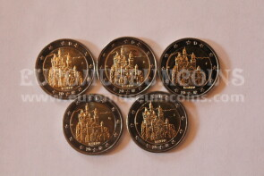 Germania 2012 Castello Neuschwanstein 5 zecche 2 Euro commemorativi