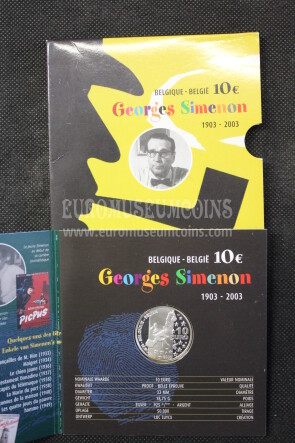 2003 Belgio Georges Simenon 10 Euro in argento PROOF in folder