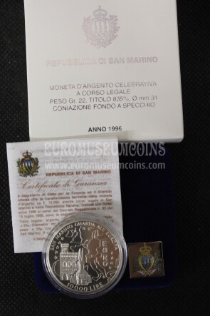1996 San Marino 10000 Lire San Marino Guarda all'Europa argento Proof