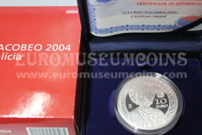 2004 Spagna 10 Euro in argento PROOF Xacobeo