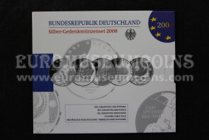 2008 Germania 10 Euro Proof in argento serie ufficiale