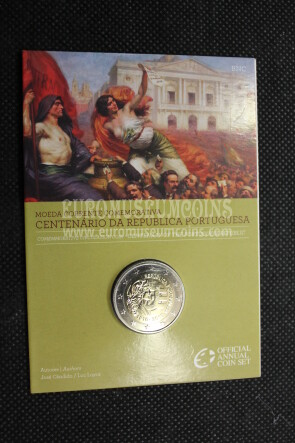 Portogallo 2010 Repubblica Portoghese 2 Euro commemorativo FDC in blister