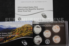 2014 USA America Quarters silver proof set Parchi in argento