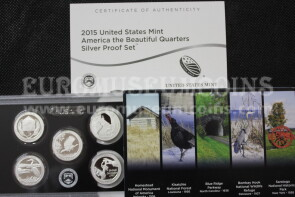 2015 USA America Quarters silver proof set Parchi in argento