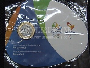 Brasile Olympic & Paralimpic Games RIO 2016 1 Real FDC Coin Basket