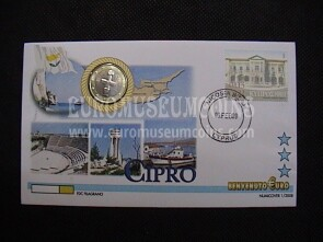 Cipro moneta da 1 euro in coin cover