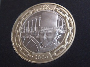 2006 Gran Bretagna moneta da 2 Pounds Proof Brunel 200° nascita