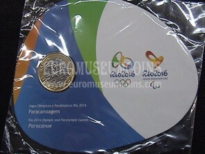 Brasile Olympic & Paralimpic Games RIO 2016 1 Real FDC Coin Paracanoa