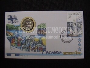 Finlandia moneta da 1 euro in coin cover