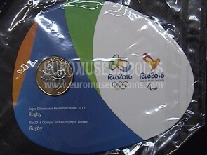 Brasile Olympic & Paralimpic Games RIO 2016 1 Real FDC Coin Rugby