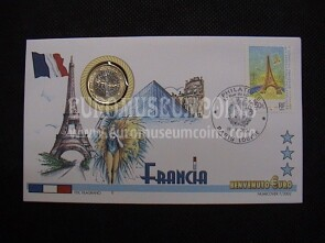 Francia moneta da 1 euro in coin cover