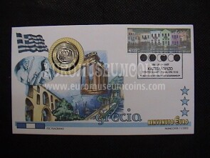 Grecia moneta da 1 euro in coin cover