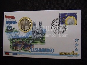 Lussemburgo moneta da 1 euro in coin cover