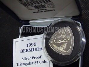 1996 Bermuda 3 dollari Triangolo in argento proof