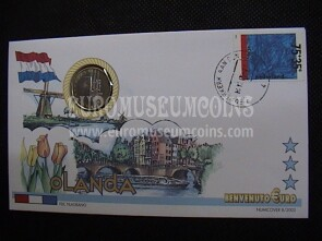 Olanda moneta da 1 euro in coin cover tipo 2