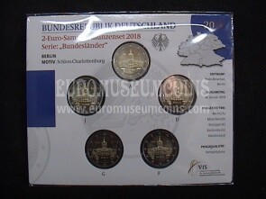 Germania 2018 Castello di Charlottenburg Berlino 5 zecche 2 Euro commemorativi FDC