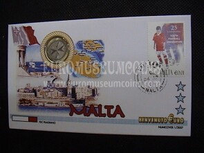 Malta moneta da 1 euro in coin cover