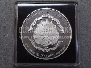2002 Repubblica Liberia 10 Dollari Proof  World Football Championship 1 oncia argento