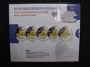 Germania 2018 Castello di Charlottenburg Berlino 5 zecche 2 Euro commemorativi proof