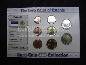 2011 Estonia serie 8 monete Euro Coin Collection