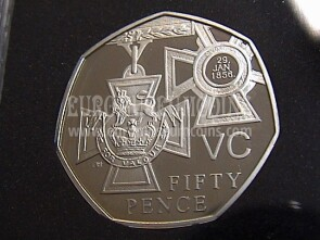 2006 Gran Bretagna moneta da 50 Pences Proof 150th Victoria Cross KM1057