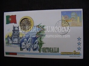 Portogallo moneta da 1 euro in coin cover