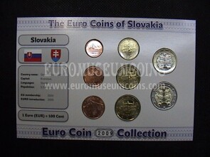 2009 Slovacchia serie 8 monete Euro Coin Collection