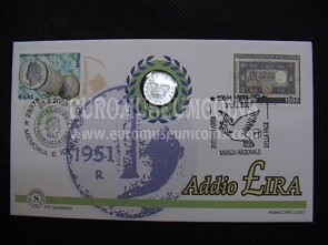 Italia moneta da 1 Lira in coin cover Addio £