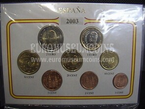 2003 Spagna serie 8 monete euro in blister Eurocollection