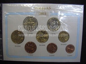 2003 Grecia serie completa 8 monete euro in blister Eurocollection
