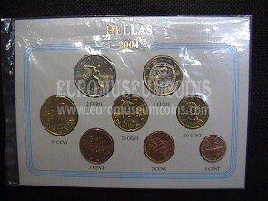 2004 Grecia serie completa 8 monete euro in blister Eurocollection