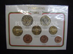 2004 Portogallo serie completa 8 monete euro in blister Eurocollection