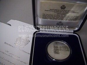 2015 San Marino 10 Euro PROOF  Abraham Lincoln in argento con cofanetto