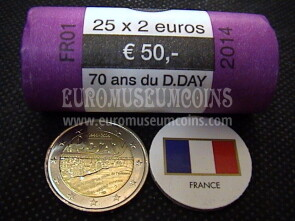 Francia 2014 D-Day 2 Euro commemorativo roll
