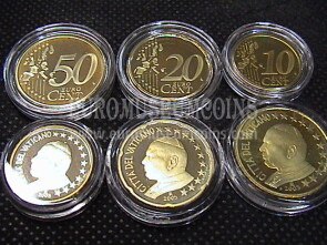 2005 Vaticano 10 + 20 + 50 eurocent proof da set ufficiale