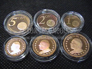 2005 Vaticano 1 + 2 + 5 eurocent proof da set ufficiale