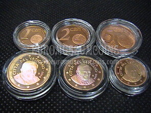 2006 Vaticano 1 + 2 + 5 eurocent proof da set ufficiale