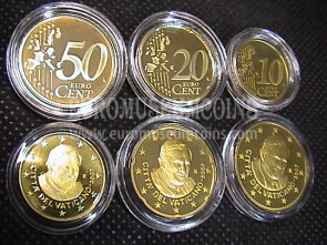 2007 Vaticano 10 + 20 + 50 eurocent proof da set ufficiale