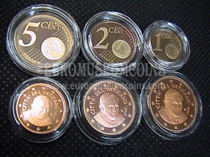 2007 Vaticano 1 + 2 + 5 eurocent proof da set ufficiale