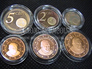 2008 Vaticano 1 + 2 + 5 eurocent proof da set ufficiale
