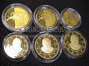 2009 Vaticano 10 + 20 + 50 eurocent proof da set ufficiale