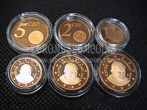2009 Vaticano 1 + 2 + 5 eurocent proof da set ufficiale