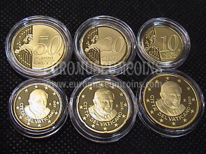2010 Vaticano 10 + 20 + 50 eurocent proof da set ufficiale